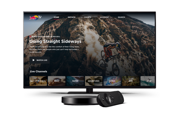A generic TV displaying the Red Bull TV landing page using the Android TV app.