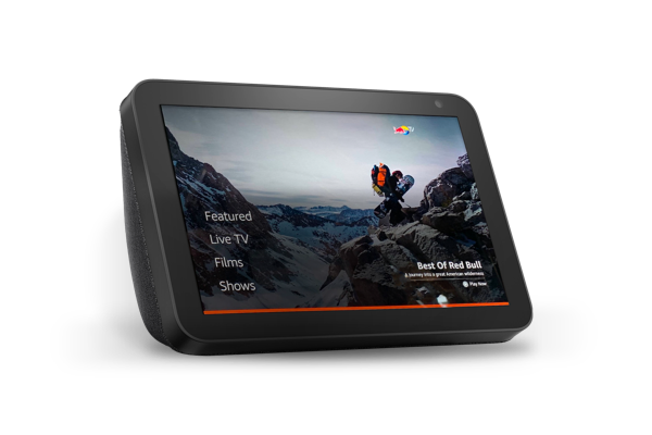 An Amazon Echo Show displaying Red Bull content from Red Bull TV