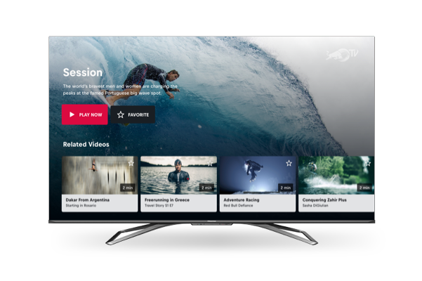 A Hisense Smart TV showing Red Bull content from Red Bull TV.