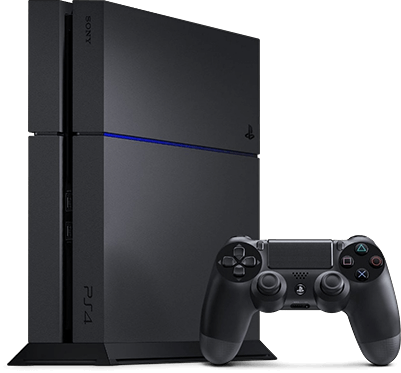 A Playstation 4 alongside its wireless controller.