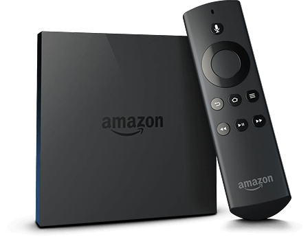 An Amazon Fire TV streaming device alongside its remote control.