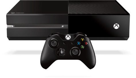 An XBox One alongside its wireless controller.