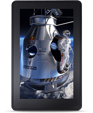 An Amazon Kindle Fire tablet displaying an image of the Red Bull Stratos project.