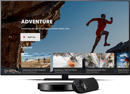 A generic TV displaying a Red Bull adventure landing page using the Android TV app.